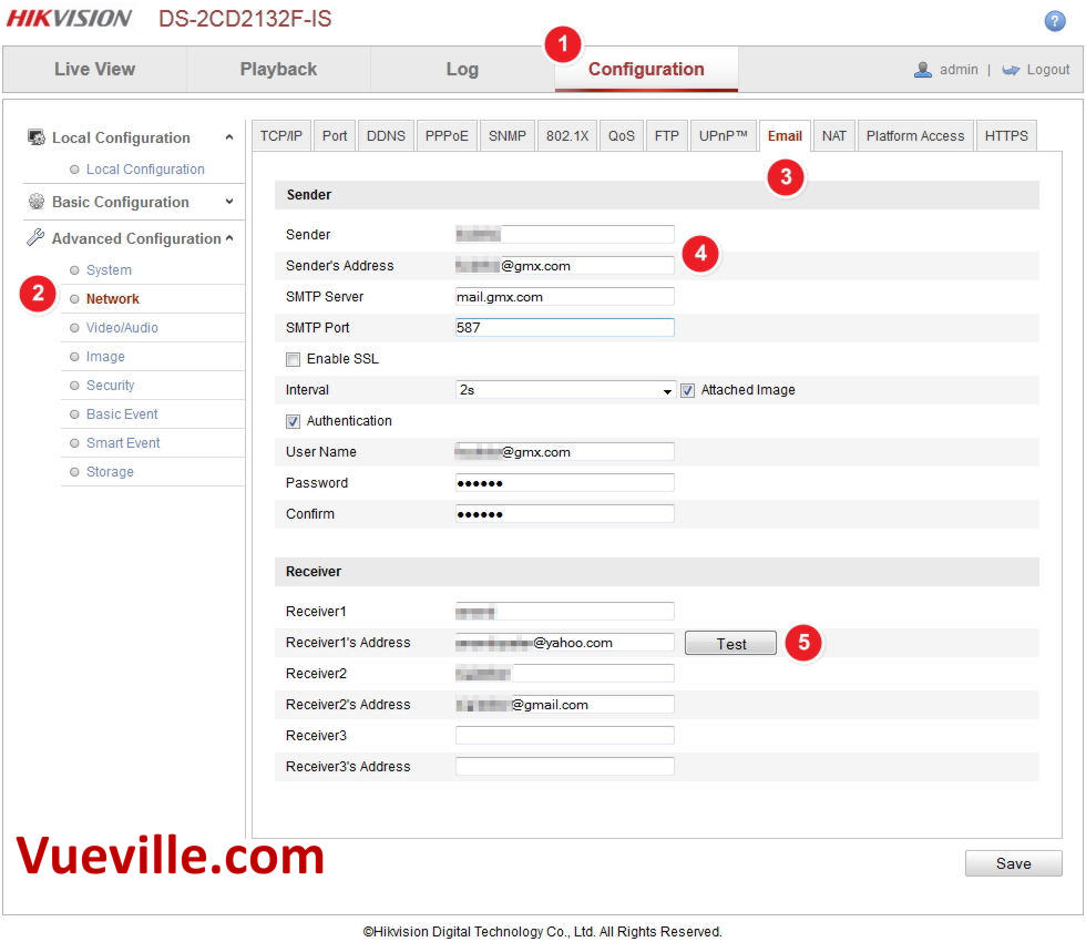 Email Alerts - Motion Detection - Hikvision - Email settings