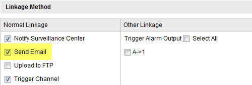 Email Alerts - Motion Detection - Hikvision - Email linkage settings