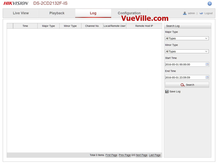 Log tab - Review - Hikvision DS-2CD2132F-IWS - VueVille.com