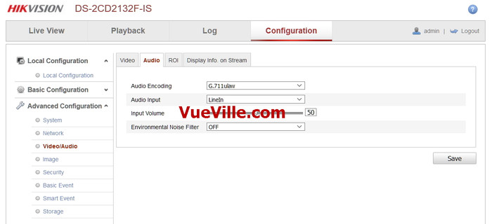 Advanced Config - Audio - Review - Hikvision DS-2CD2132F-IWS - VueVille.com