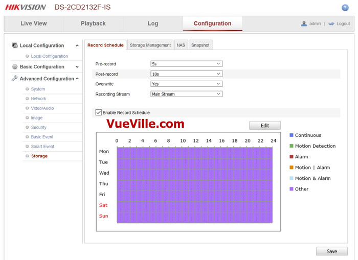 Advanced Config - Storage - Review - Hikvision DS-2CD2132F-IWS - VueVille.com