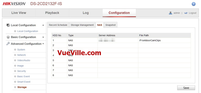 Advanced Config - NAS - Review - Hikvision DS-2CD2132F-IWS - VueVille.com