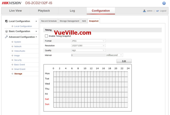 Advanced Config - Snapshot - Review - Hikvision DS-2CD2132F-IWS - VueVille.com
