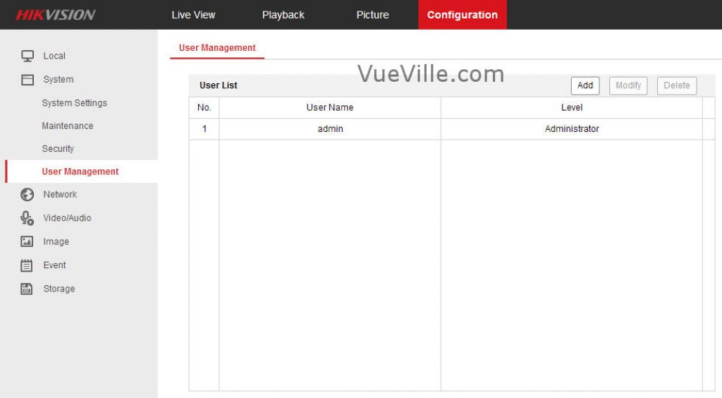 Hikvision DS-2CD2542F-IWS - Configuration Tab - VueVille.com