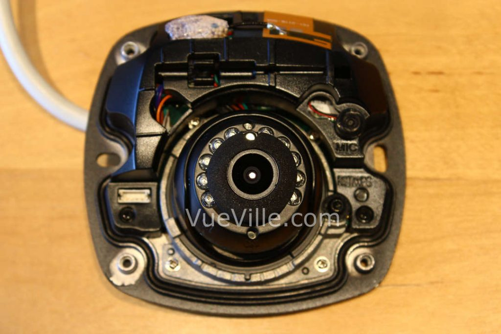 Hikvision DS-2CD2542F-IWS - Top View with dome cover off - VueVille.com