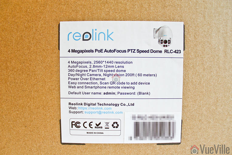 Review - Reolink RLC-423 - Box Label - VueVille