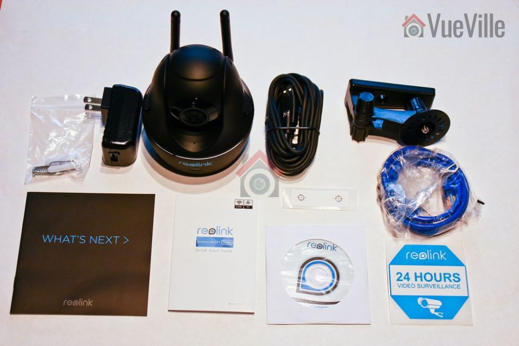 Box Contents - Reolink C1 Pro Review Pan-Tilt Indoor Security Camera - VueVille