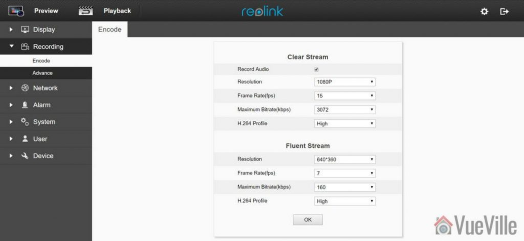 Web admin page - Reolink C1 Pro Review Pan-Tilt Indoor Security Camera - VueVille