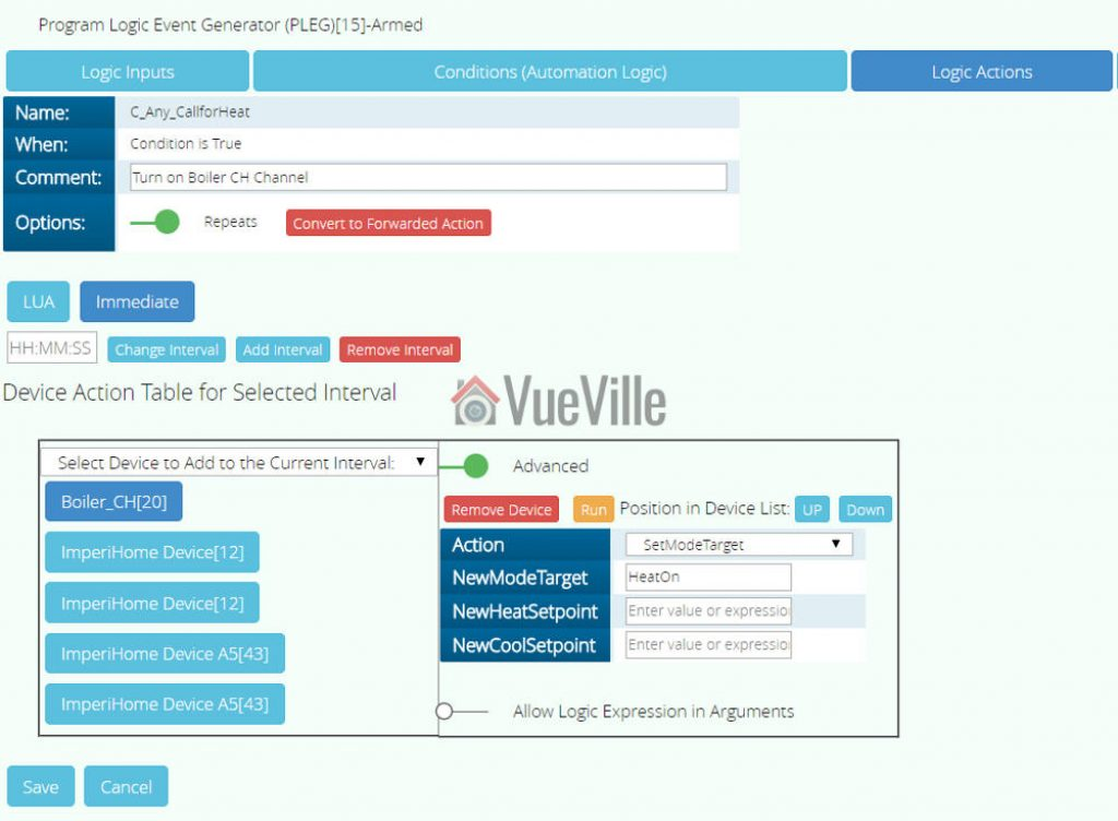 Vera Plus - PLEG - LogicActions - Example - VueVille