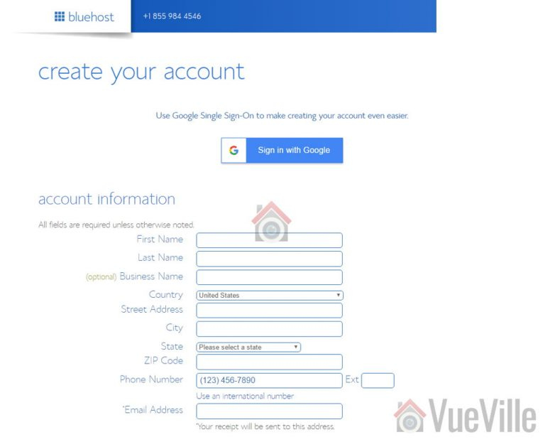 BlueHost Signup 3 - How to set up a money making tech blog - VueVille