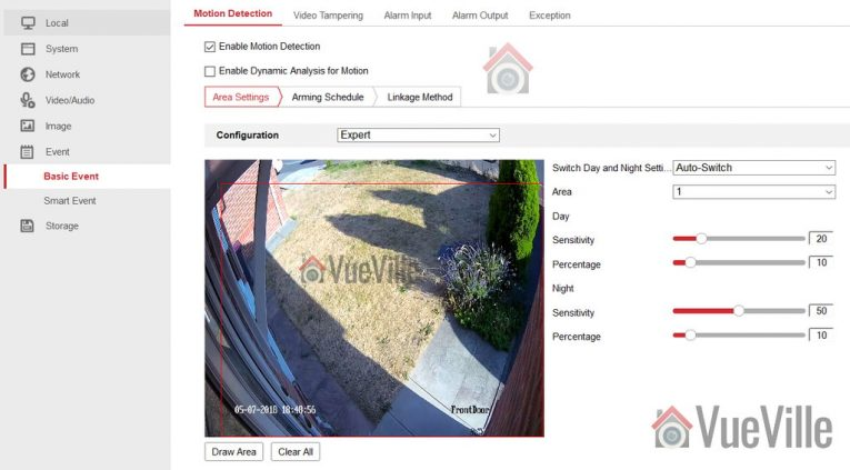 Hikvision Motion Detection Setup - Basic Event - Expert mode - VueVille