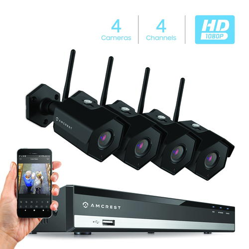 Amcrest NV2104-IP2M-852B4 - Best Outdoor Wireless Security Camera System with DVR - VueVille