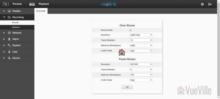 Review - Reolink C2 Pro vs. C1 Pro - Settings Encode - VueVille