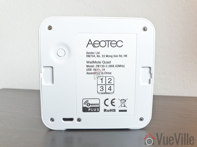 Review - Aeotec Wallmote Quad - Back View - VueVille