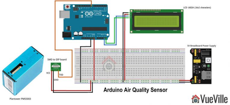 Arduino Air Quality Sensor - Connection Diagram - VueVille